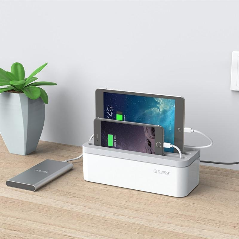 Cable Organizer and Storage Box with Stand for Smartphones and Tablets