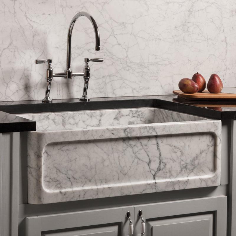 Carrara Marble Farmhouse Sink by Stone Forest