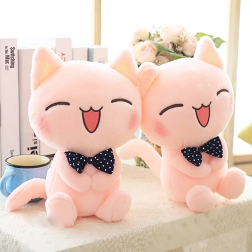 Sitting Height Stuffed Cat Plush Toy Pink Color