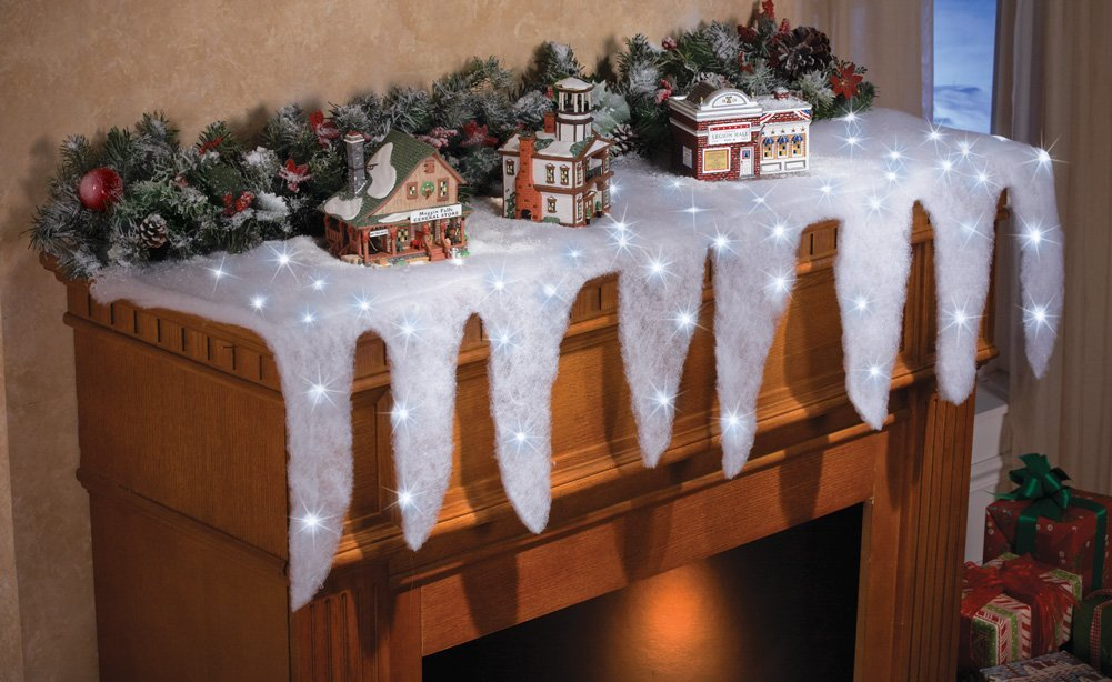 Lighted Snow Icicle Holiday Mantel Scarf