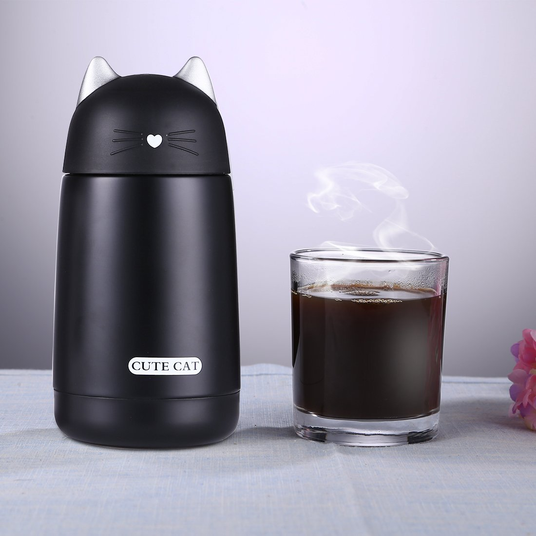 ONEISALL Cute Cat Thermos