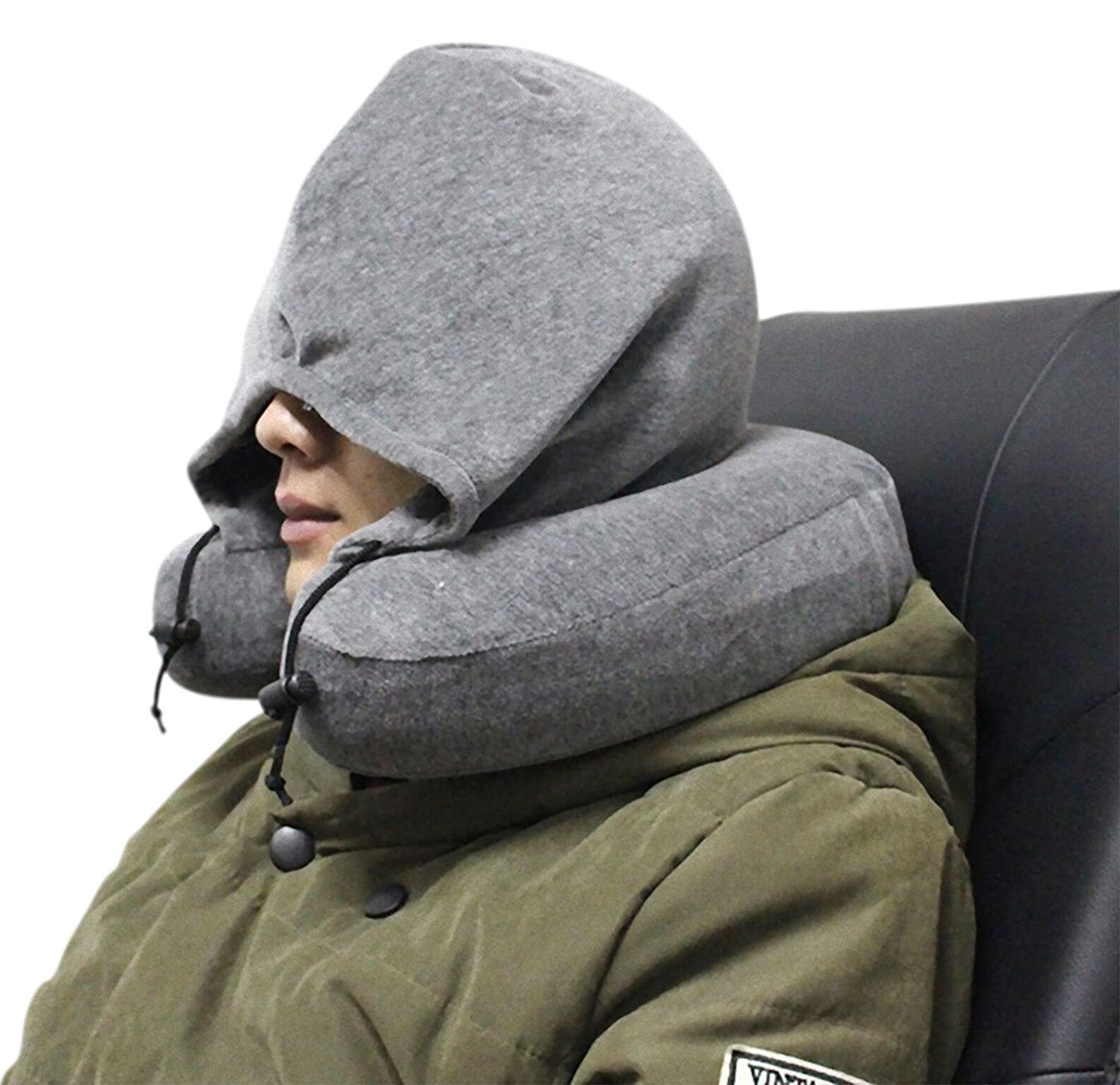 Luxury Quality Memory Foam Neck Travel Pillow With Hoodie
