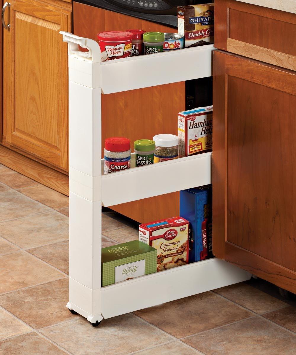 Miles Kimball 3 Tier Slim Storage Cart 187 Petagadget