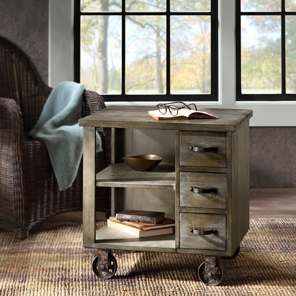 Rustic Industrial Distressed Accent Side End Table with 3 Drawers