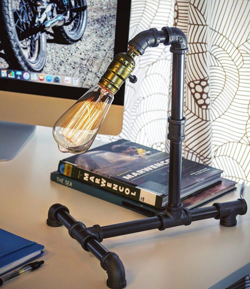 Loft Living Designer Steampunk Water Piping Desk Lamp