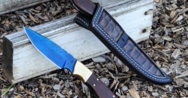 BucknBear Handmade Color Damascus Utility Knife