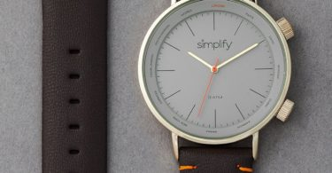 Simplify The 3300 Leather-Band Watch with World Time Zones