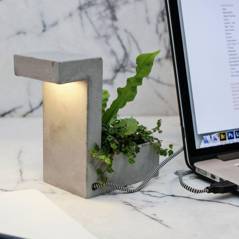 Concrete Desk Lamp With Planter 187 Petagadget