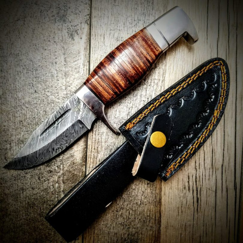 HTS-80 Stacked Leather Handle Skinner