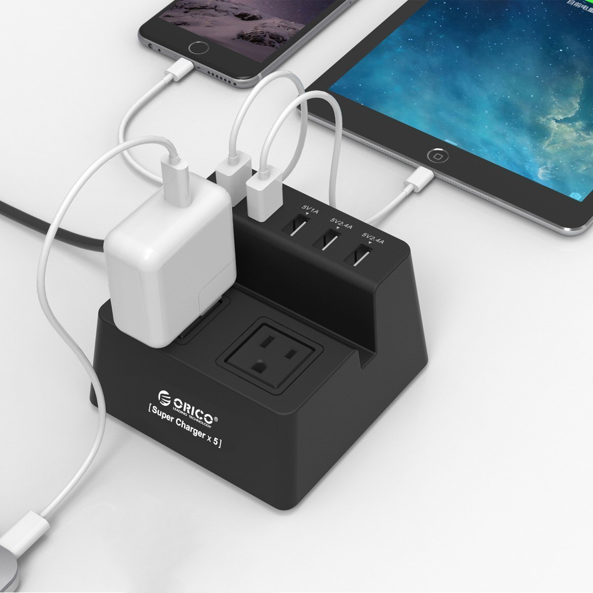 Charging Stand Surge Protector with 5-Port USB and 2 AC Outlets