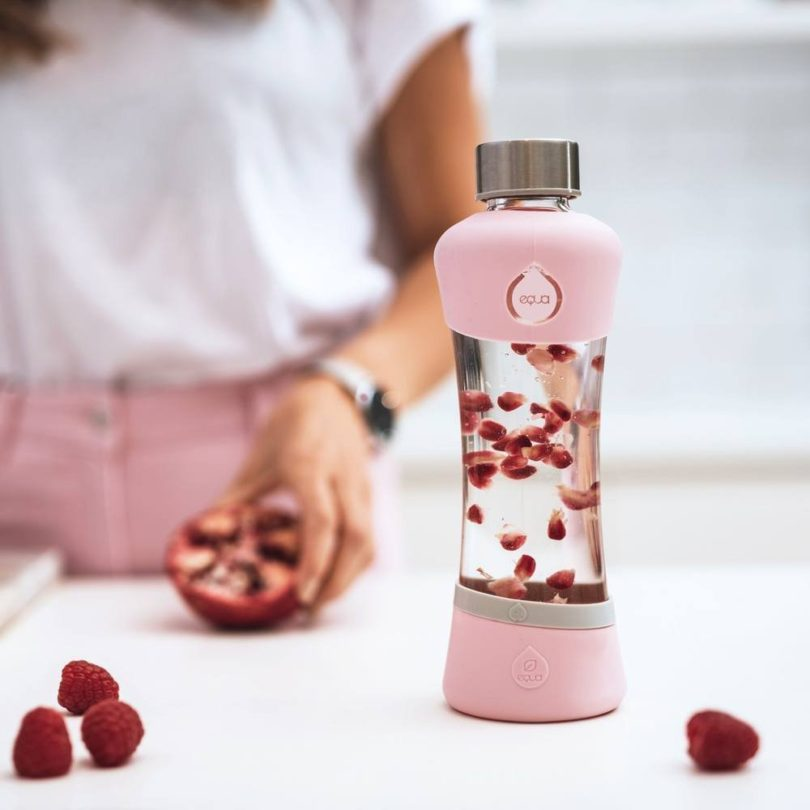 EQUA Glass Water Bottle Active Berry