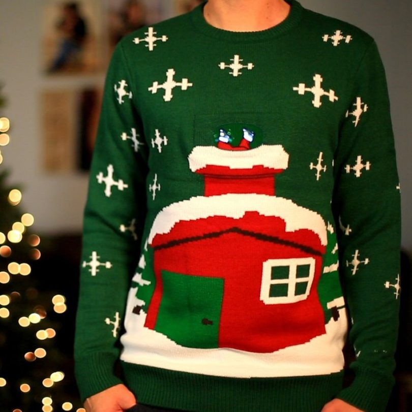 Stuck Santa Digital Knitted Christmas Sweater