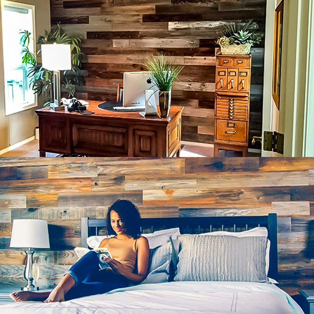 Reclaimed Weathered Redwood Peel and Stick Panels by Weekend Walls