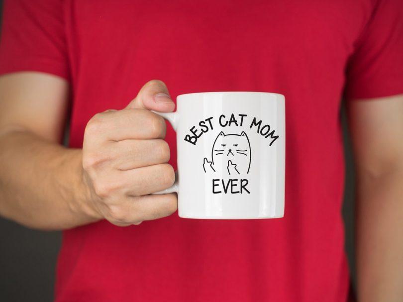Best Cat Mom Ever Middle Finger Funny Coffee Mug
