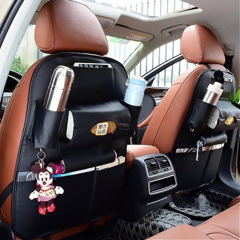 Car Back Seat Leather Storage Bag