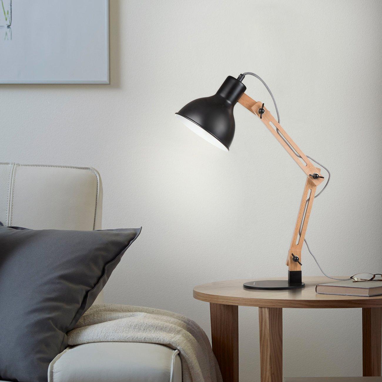 Tomons DL1001B Wood Swing Arm Desk Lamp