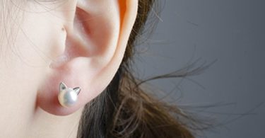 S.Leaf Cat Ear Stud Earrings Freshwater Cultured Pearl Stud Earrings Sterling Silver Ear Studs