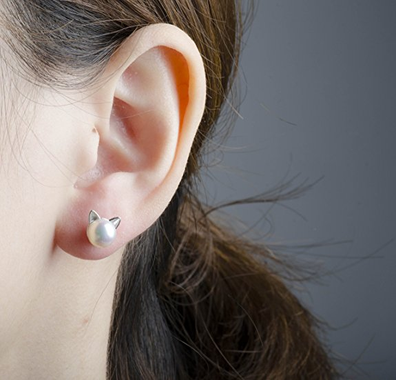 S.Leaf Cat Ear Stud Earrings Freshwater Cultured Pearl Stud Earrings Sterling Silver Ear Studs