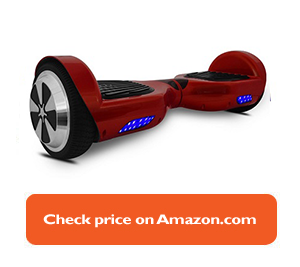 red hoverboard with blue lights