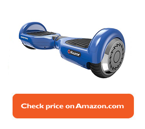 blue hoverboard with silver wheels