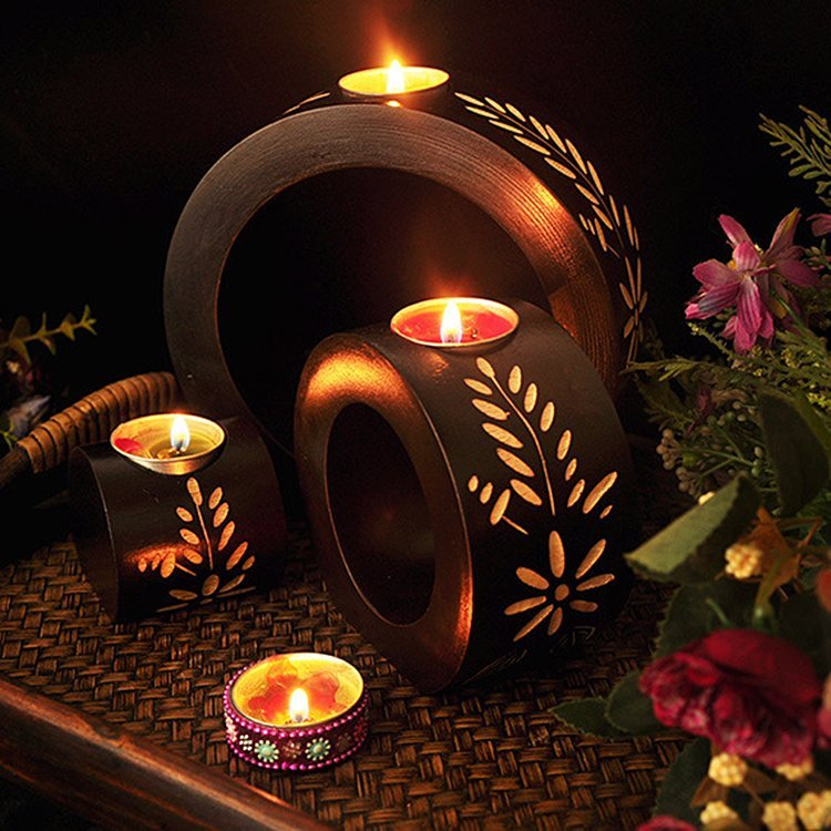 Wooden 3-in-1 Candle Holder