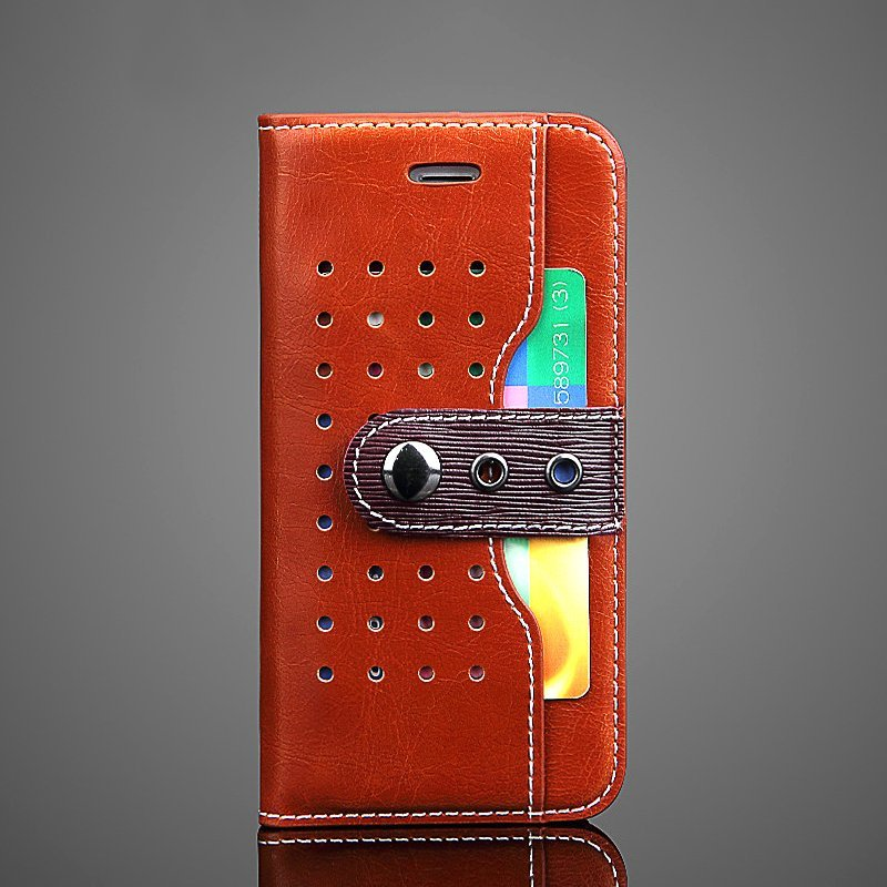 Punched Leather iPhone Wallet Case
