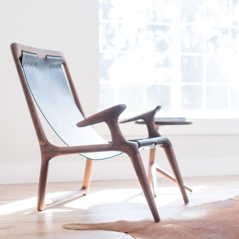 The Sling Chair Walnut & Black Leather