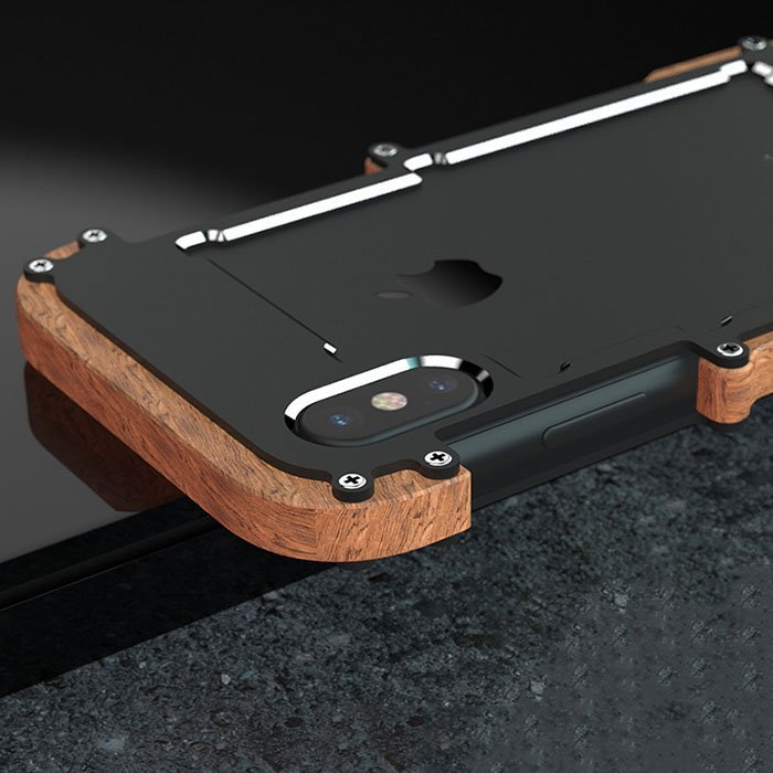 Wood and Aluminum Metal iPhone X Case