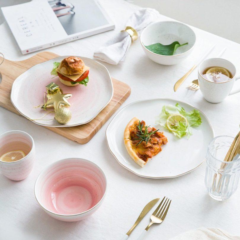 Ceramic Gold Trim Western Tableware Set