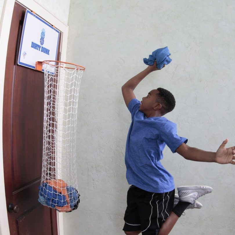 Dirty Dunk Over-the-Door Basketball Hoop Laundry Hamper