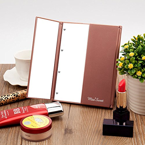 Miss Sweet Led Lighted Tri-Fold Makeup Mirror Travel