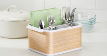 InterDesign RealWood Cutlery Caddy Organizer for Silverware