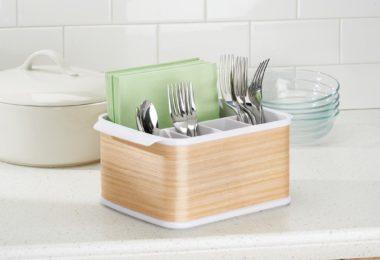 InterDesign RealWood Cutlery Caddy Organizer for Silverware