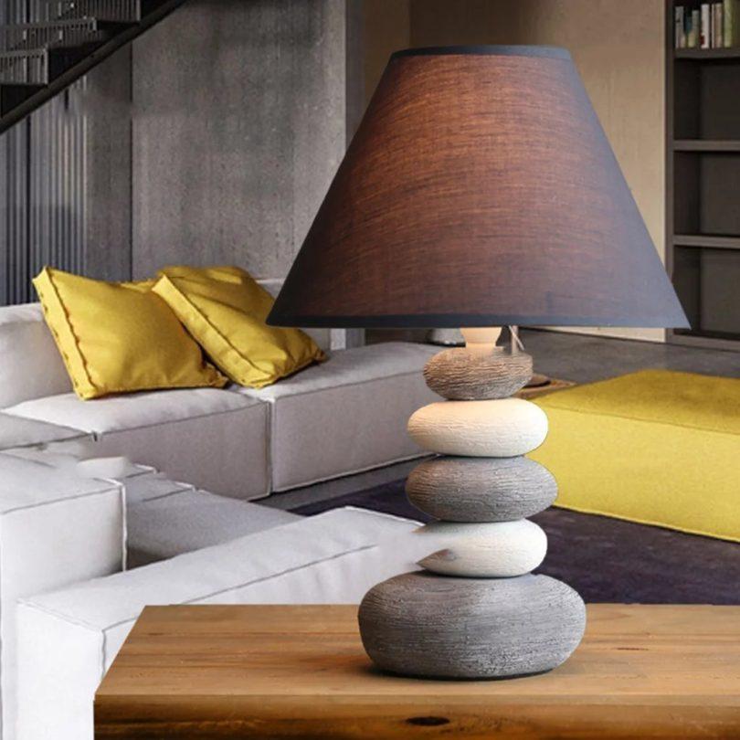 Dark Gray Ceramic Table Lamp