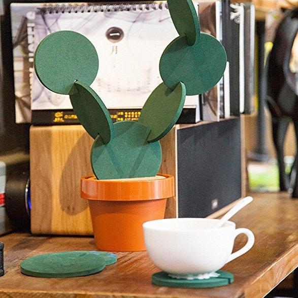 Flee 6-Piece Green Coaster Set with Flower Pot Shaped Holder