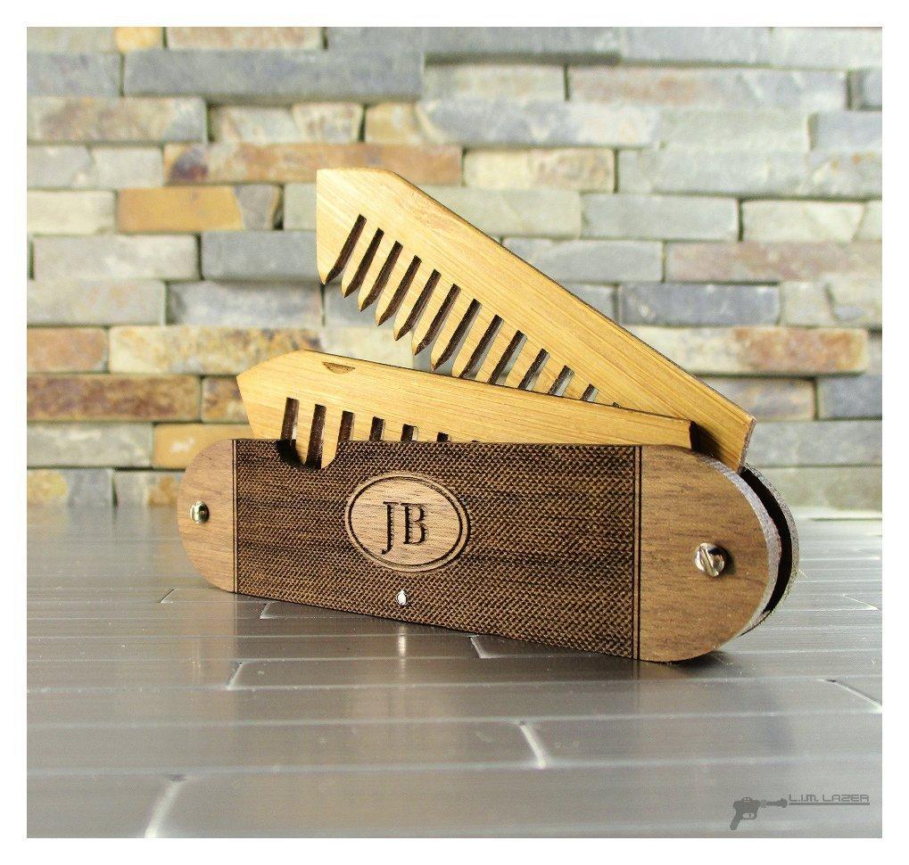 Walnut Wood and Bamboo Beard and Mustache Folding Comb