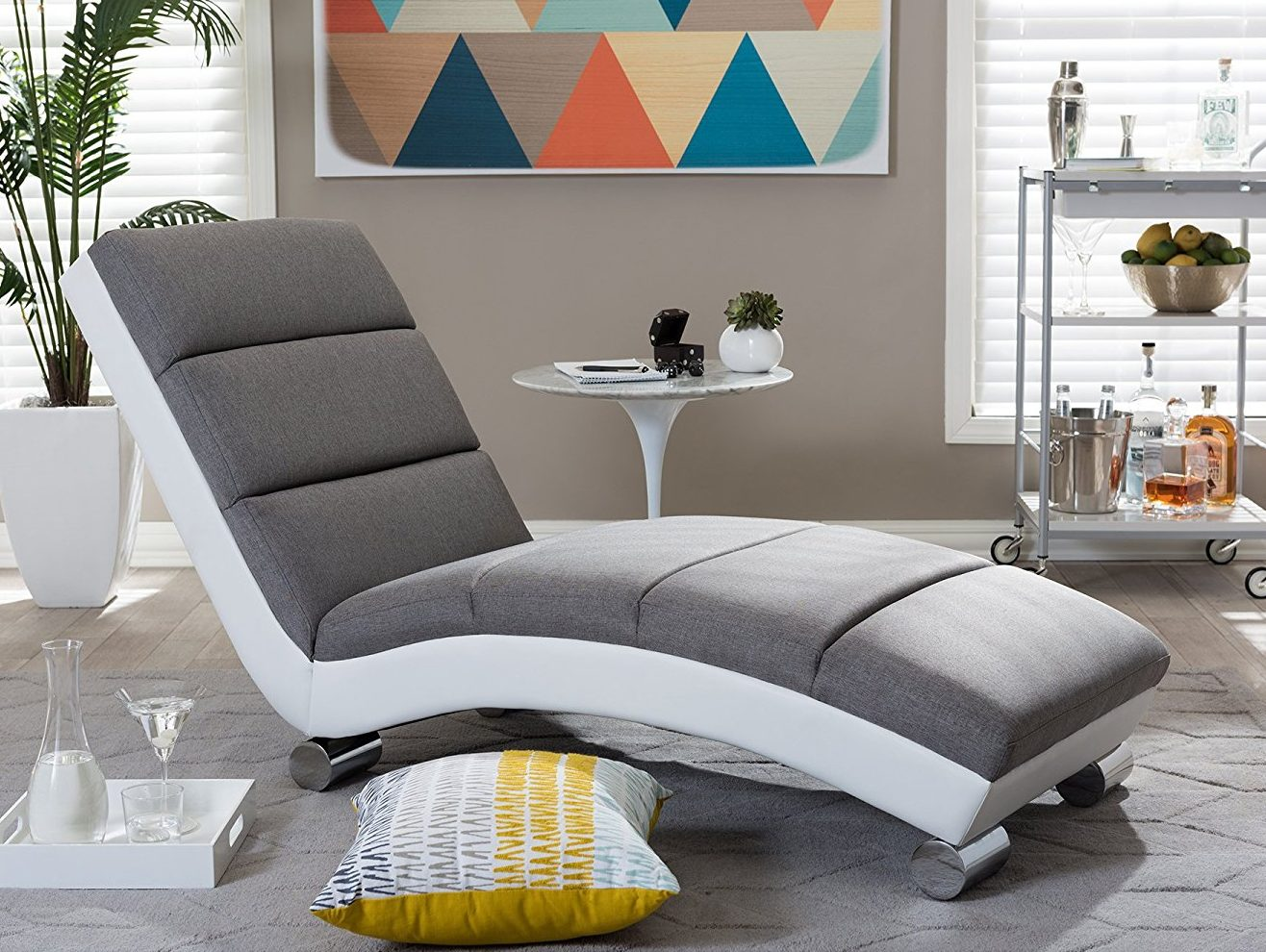 Baxton Studio Percy Modern Contemporary Grey Fabric and White Faux Leather Upholstered Chaise Lounge