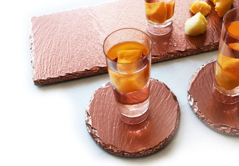Renee Redesigns Round Hand Painted Rose Gold Slate Drink Coasters