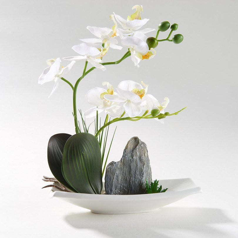 Artificial Phaleanopsis Arrangement with Vase Decorative Orchid