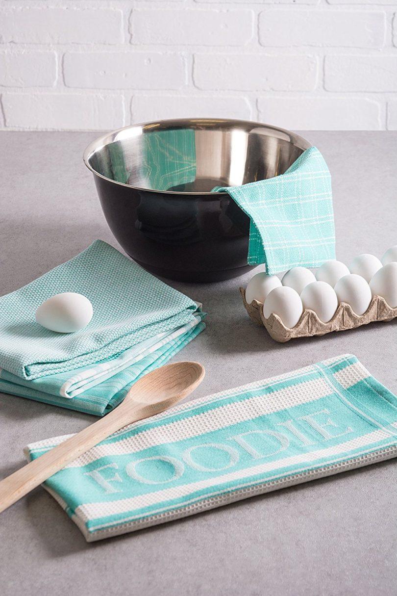 DII Cotton Foodie Kitchen Dish Towels 18 x 28″ & Dish Cloth 13 x 13″