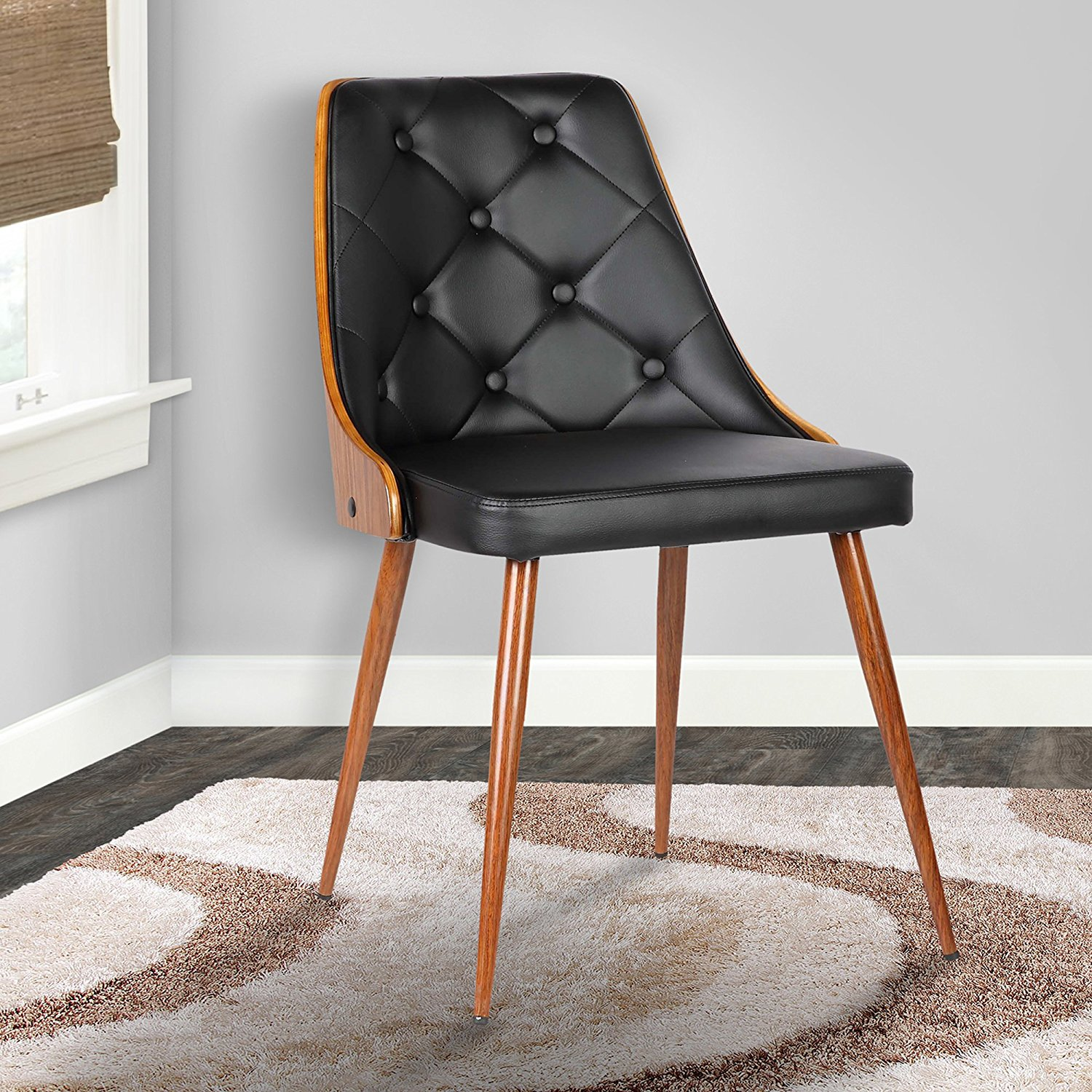 Lily Dining Chair in Black Faux Leather