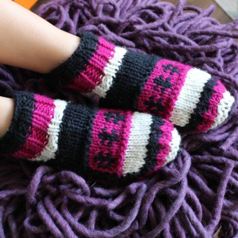 Purple Hand Knit Wool Ankle Tibetan Socks