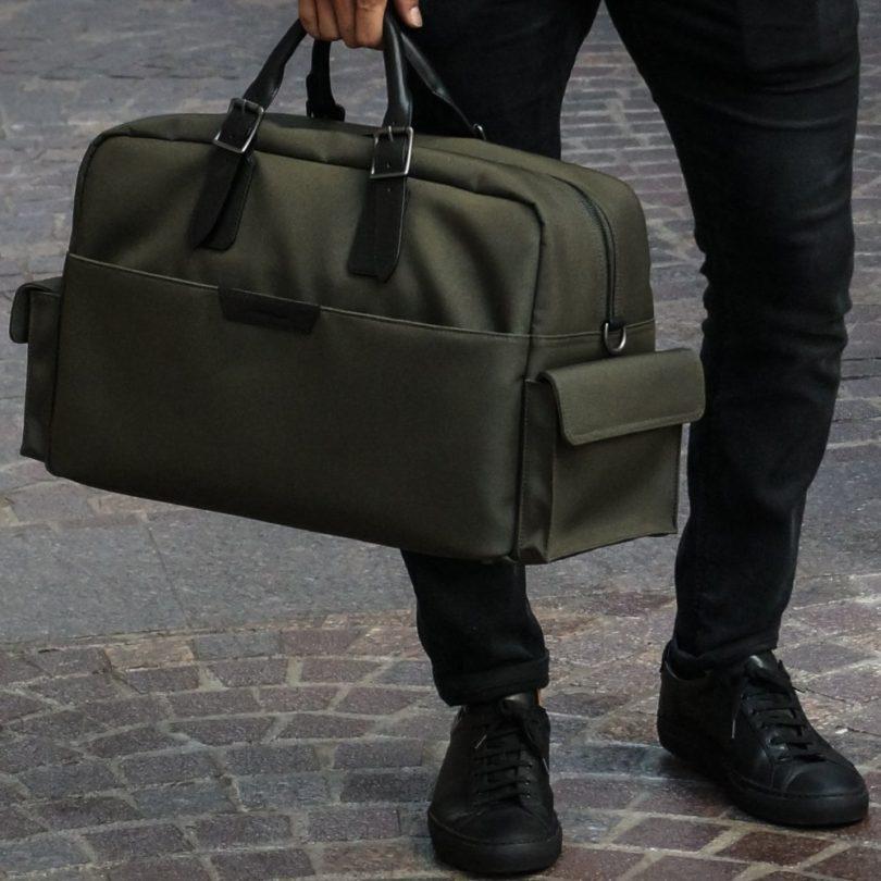 Olive and Black Campaign Bag by Stuart & Lau