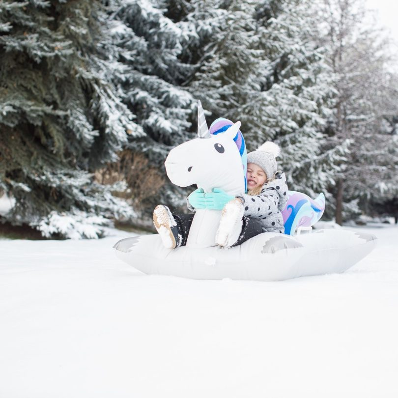 Giant Winter Unicorn Snow Tube