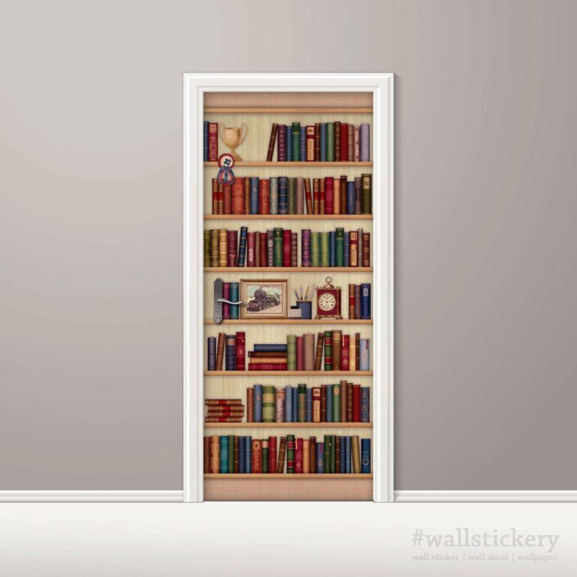 Wallstickery Door Wall Sticker Faux Bookshelf