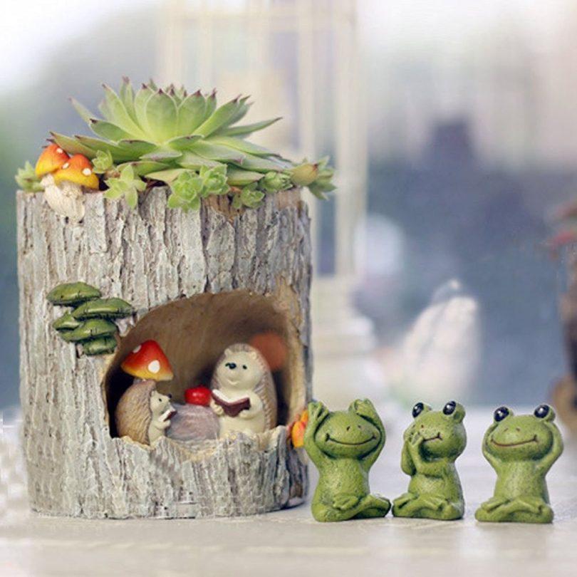 Tinksky Cute Hedgehog Flower Sedum Succulent Pot Planter