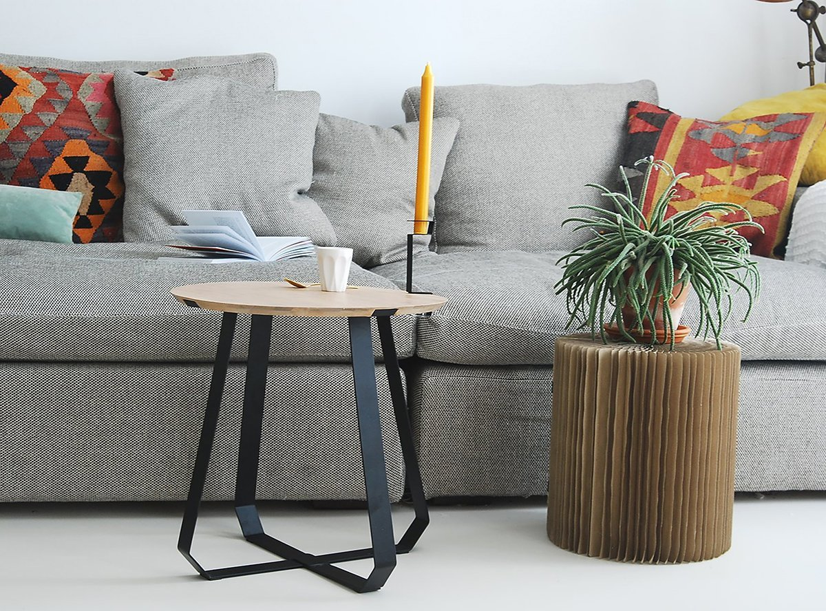 Shunan Steel & Wood Side Table