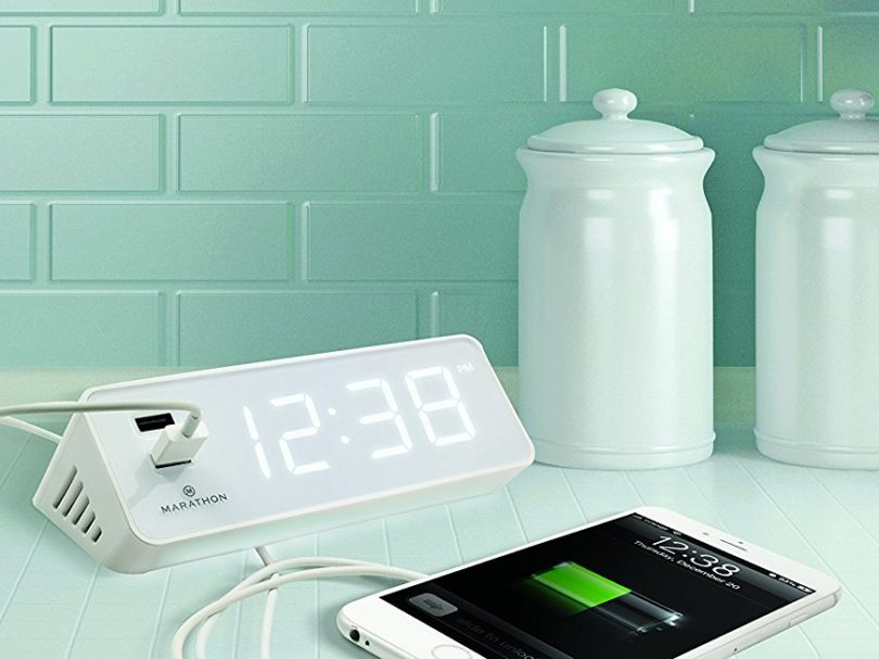 Marathon Led Alarm Clock With Two Fast Charging Front
