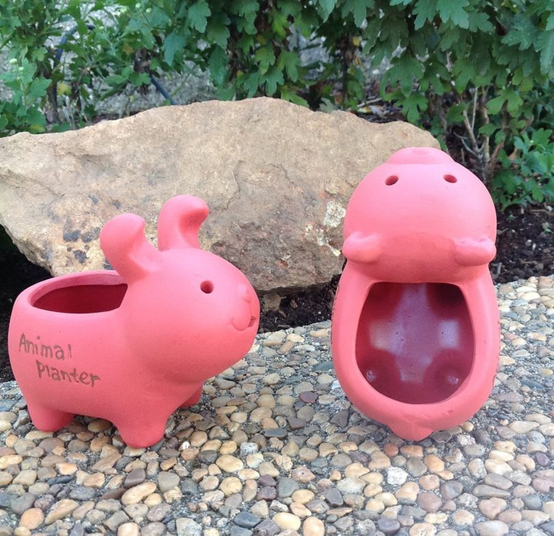 Adorable Terra Cotta Rabbit and Bear Shaped Mini Planters