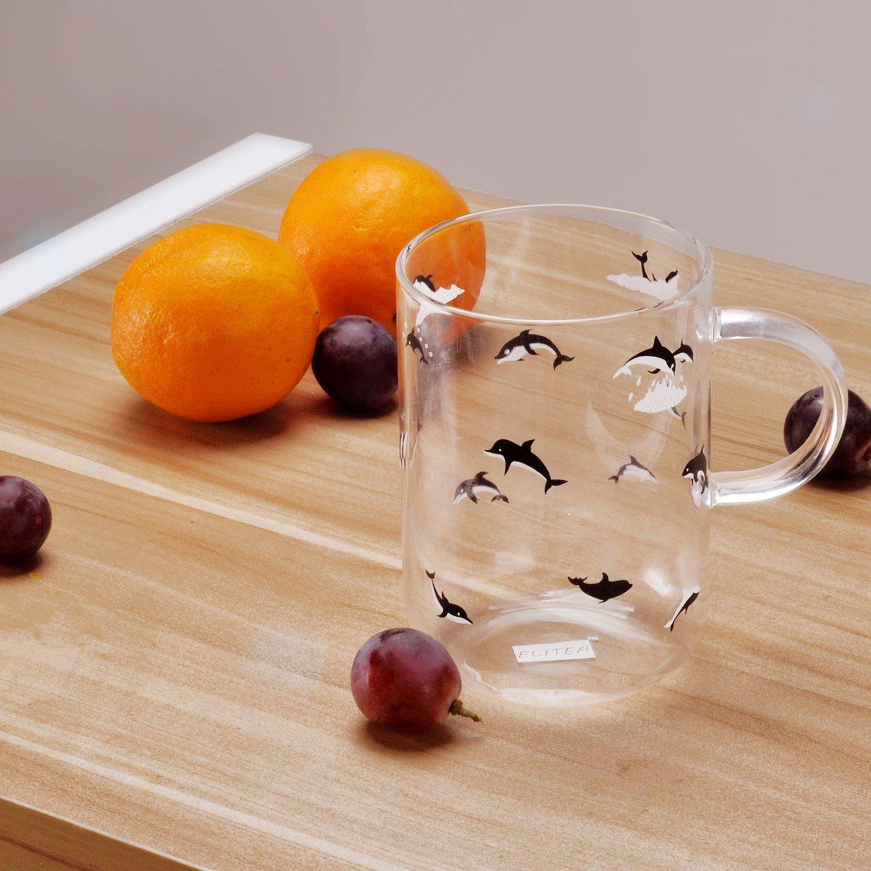 ELITEA Glass Mug with Handle Clear Cute Coffee Mugs Tea Cup with Dolphin Print